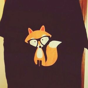 CAFE PRESS FOX W/GLASSES GRAPHIC TSHIRT 3X